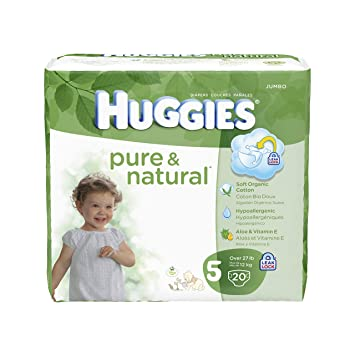 Huggies Pure and Natural Diapers, Size 5, 20 Count