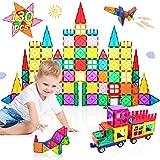 Lati 130 pcs Magnetic Tiles, Magnet Building Blocks for Kids STEM Construction Set Clear Imagination Inspirational Educationa