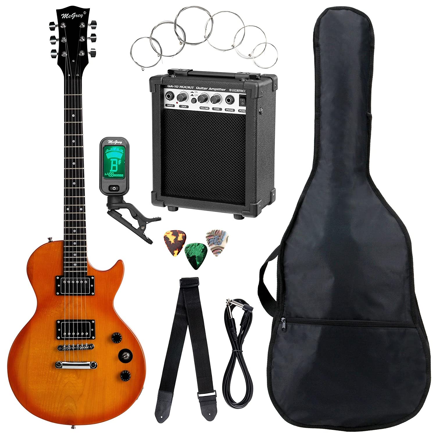 Set completo de guitarra eléctrica McGrey Rockit Simple Cut naranja intenso: Amazon.es: Instrumentos musicales