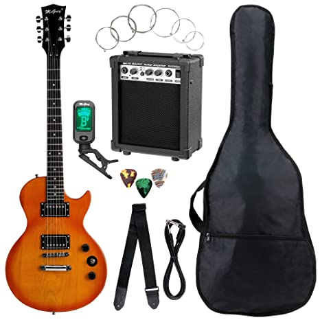 Set completo de guitarra eléctrica McGrey Rockit Simple Cut naranja intenso