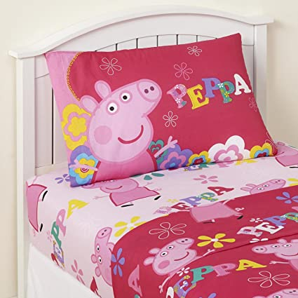 High Quality Twin Sheet Sets For Girls 3 Piece Kids Peppa Pig Microfiber Bedding Set  Flat Sheet Fitted