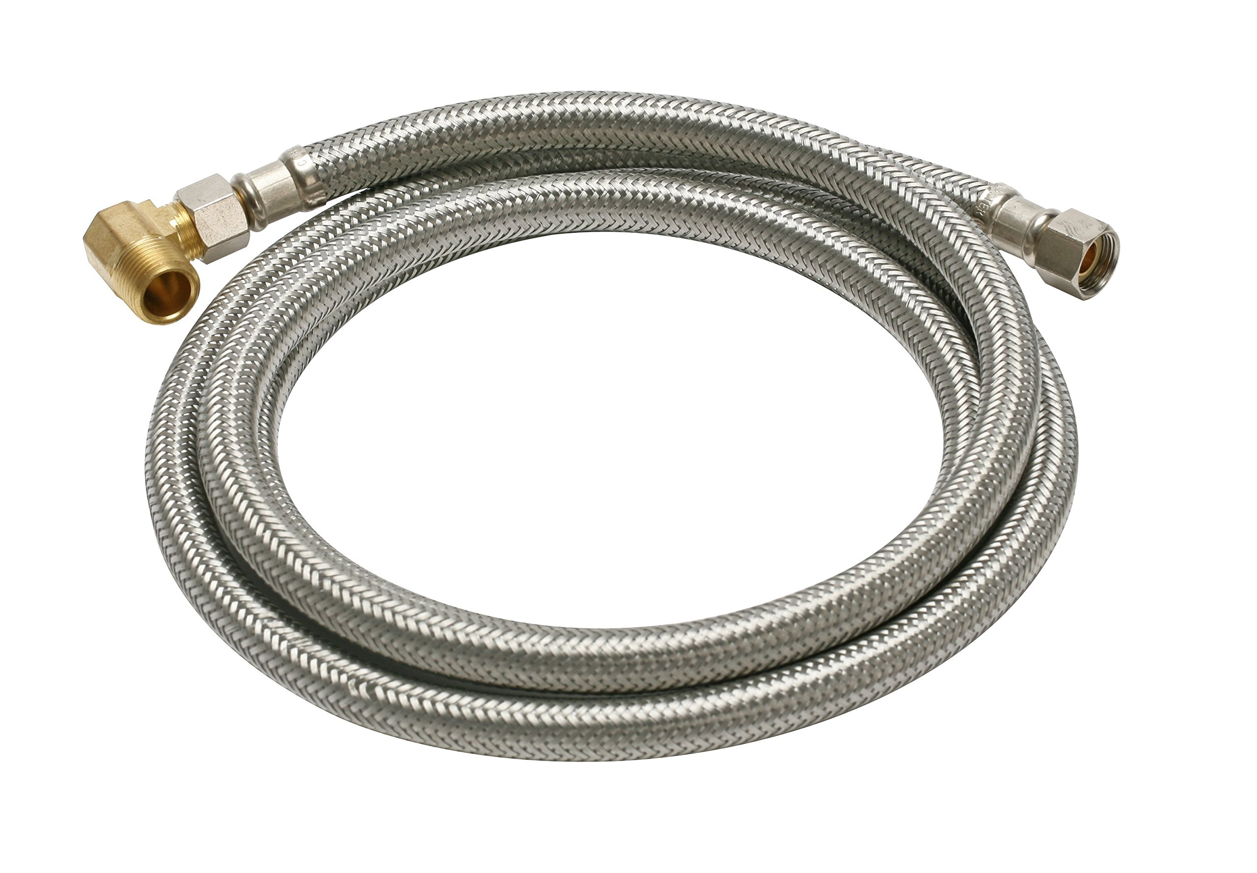 Fluidmaster B6W72 Dishwasher Connector With 1/2-Inch Elbow Fitting, Braided Stainless Steel - 3/8 Female Compression Thread x 3/8 Female Compression Thread, 6 Ft. (72-Inch) Length