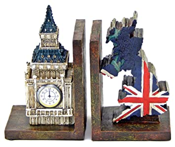 Decorative Bookends British London Big Ben Clock Tower And UK Map