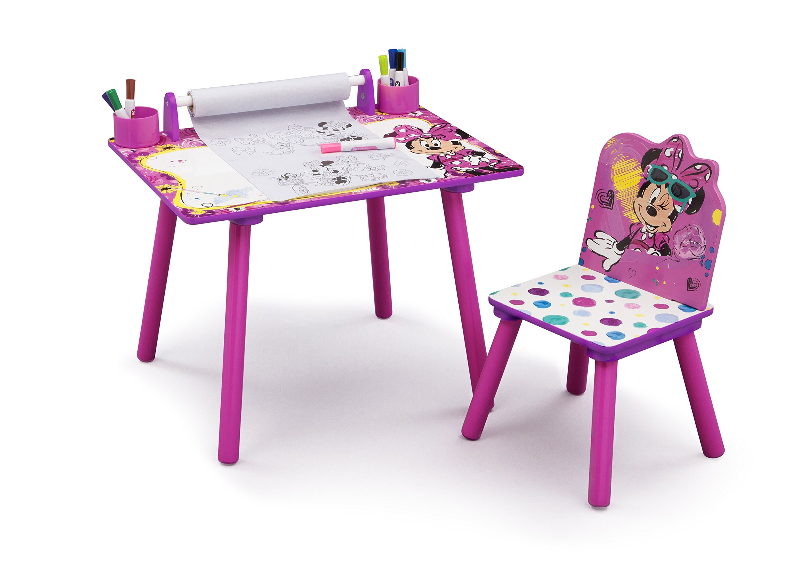 Disney Minnie Mouse Art Desk with Dry-Erase Tabletop and Color Book Paper Roll