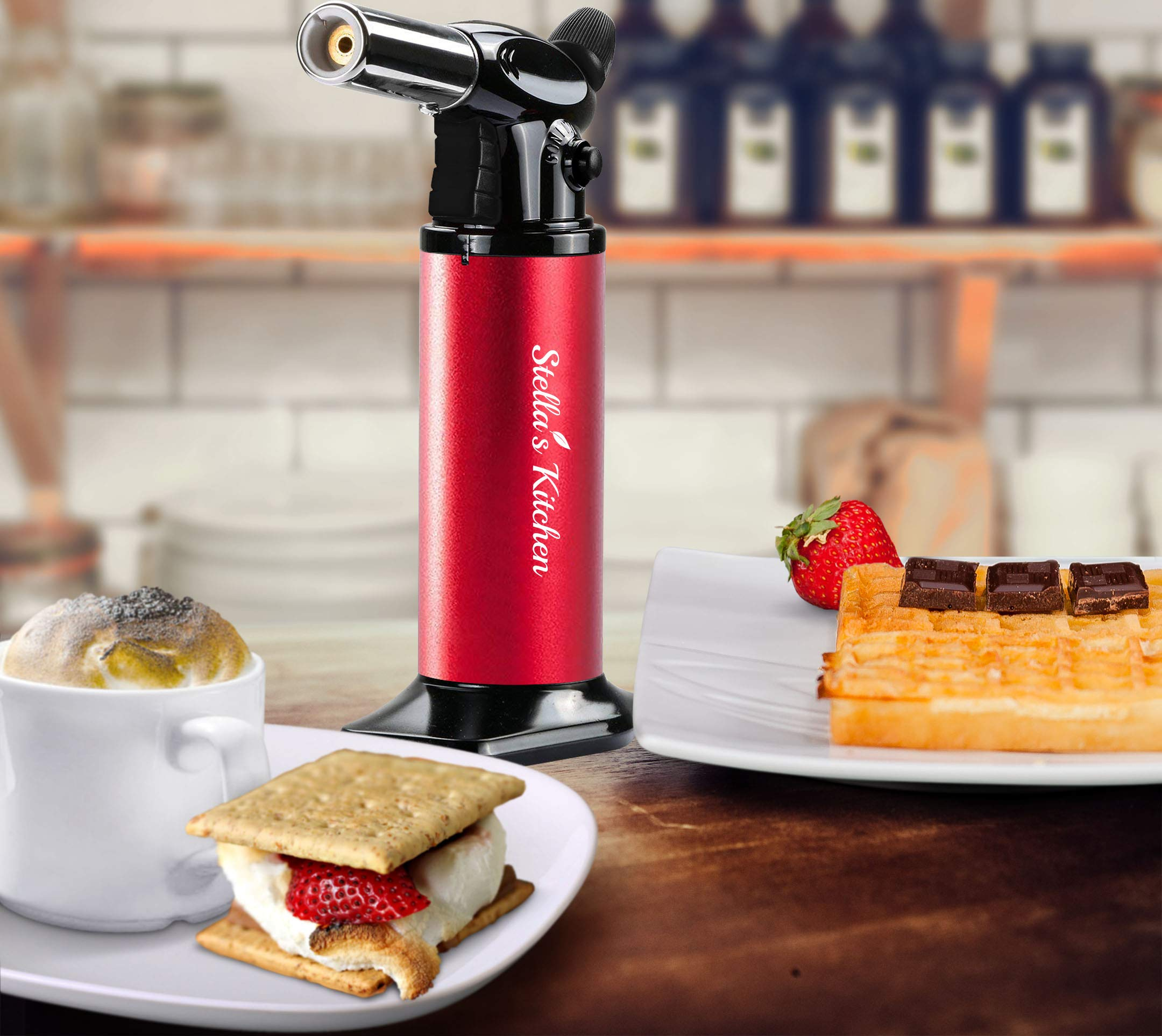 Culinary Torch - 3 Pcs Set-Creme Brulee Torch-Refillable Butane Torch-Blow Torch-Cooking Torch - Butane Food Torch- Torch for Dabs with Fuel Gauge&Adjustable Flame-Chefs Torch- Butane Torch by Stella's Kitchen (Image #1)