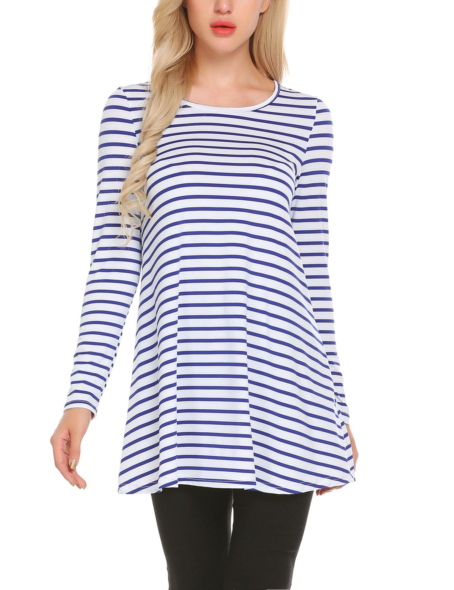 L\'AMORE Damen Basic Shirt Streifen 3/4 Ärmel Oberteil Casual Bluse Longshirt