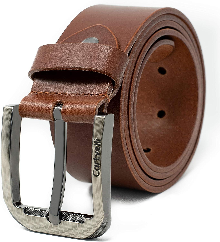 Cartvelli Premium Cinturón de Cuero para Hombre 38mm Hecho en Alemania - Cinturón de cuero genuino con caja de regalo
