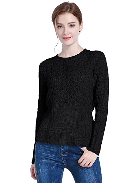 V28 Women's Cotton Cable Knitted Crew-Neck Casual Long Sleeves ...
