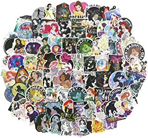 100pcs Pack Cartoon Laptop Stickers, Vinyl Computer Waterproof Water Bottles Skateboard Luggage Decal Graffiti Patches Decal (Princess)