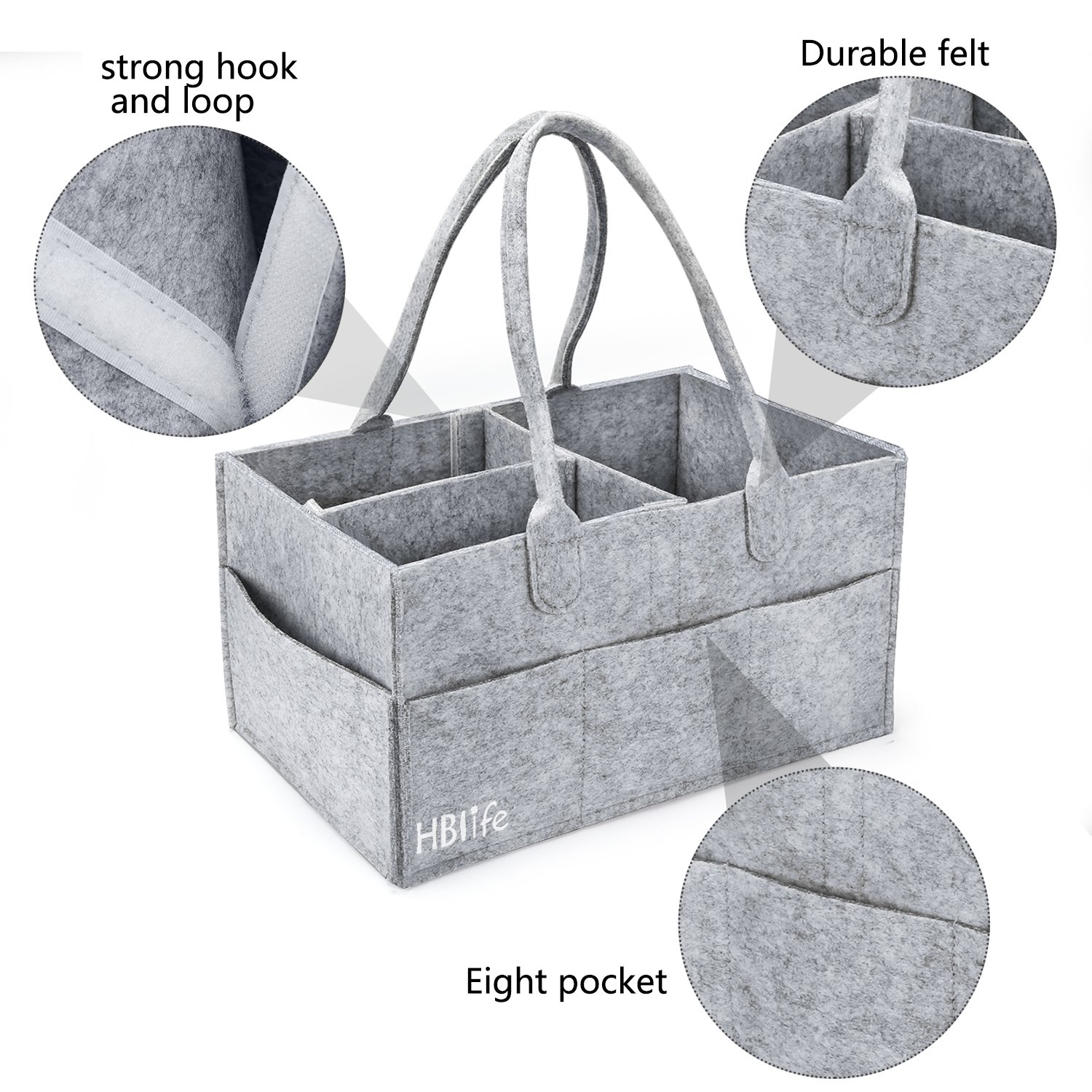 Baby Diaper Caddy Organizer HBlife Nursery Storage Bin Portable Diaper with Changeable Compartments for Newborn Registry Must Haves Baby Wipes Shower Gift Grey