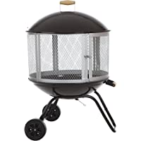 Bessemer 01471 28″ Patio Fireplace, Black and Silver