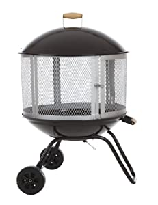 """Bessemer 01471 28"""" Patio Fireplace, Black and Silver"""