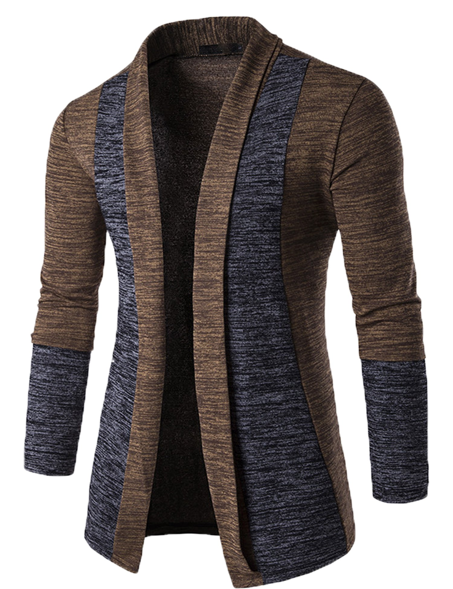 Modfine Men's Casual Cardigans Long Sleeve Slim Fit Open Front Shawl Collar Cardigans(Coffee 2,M)