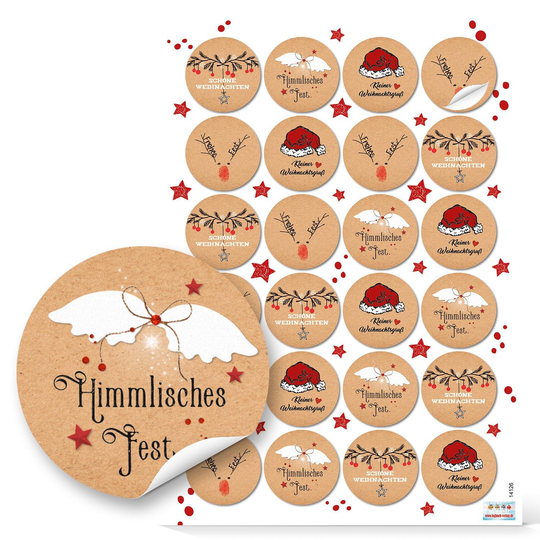 Logbuch-Verlag 96 Weihnachtsaufkleber rund rot wei/ß natur schwarz Geschenk-Aufkleber Verpackung Weihnachtsgeschenke Sticker Etiketten 4 cm Weihnachtsverpackung