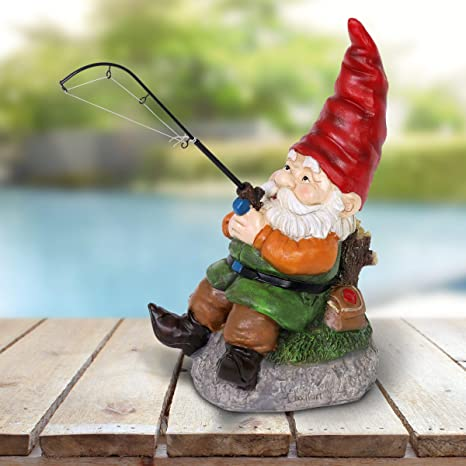 Amazon Com Exhart Good Time Fishing Frank Garden Gnome For Fisherman And Outdoor Enthusiasts Garden Gnome With A Fishing Rod Decor Gnome Figurines Gnomes Garden Decorations For Fisherman 8 L X
