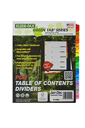 Kleer-Fax PDQ Table of Contents Dividers, 12 Tab - January through