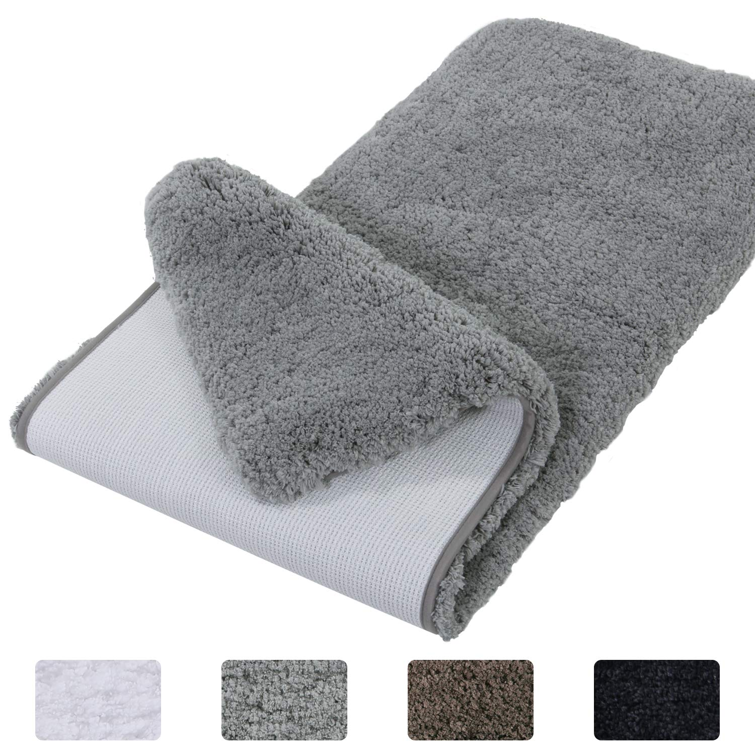 Lifewit Bathroom Rug Bath Mat Non-Slip Rubber Microfiber Soft Water Absorbent Thick Shaggy Floor Mats, Machine Washable, Grey, 59''x20''