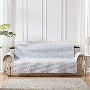 SunStyle Home Furniture Protector Sofa Covers 100% Waterproof Leaf Pattern Quilted Couch Slipcover with Adjustable Elastic Strap and Non-Slip Backing - Light Grey/Beige