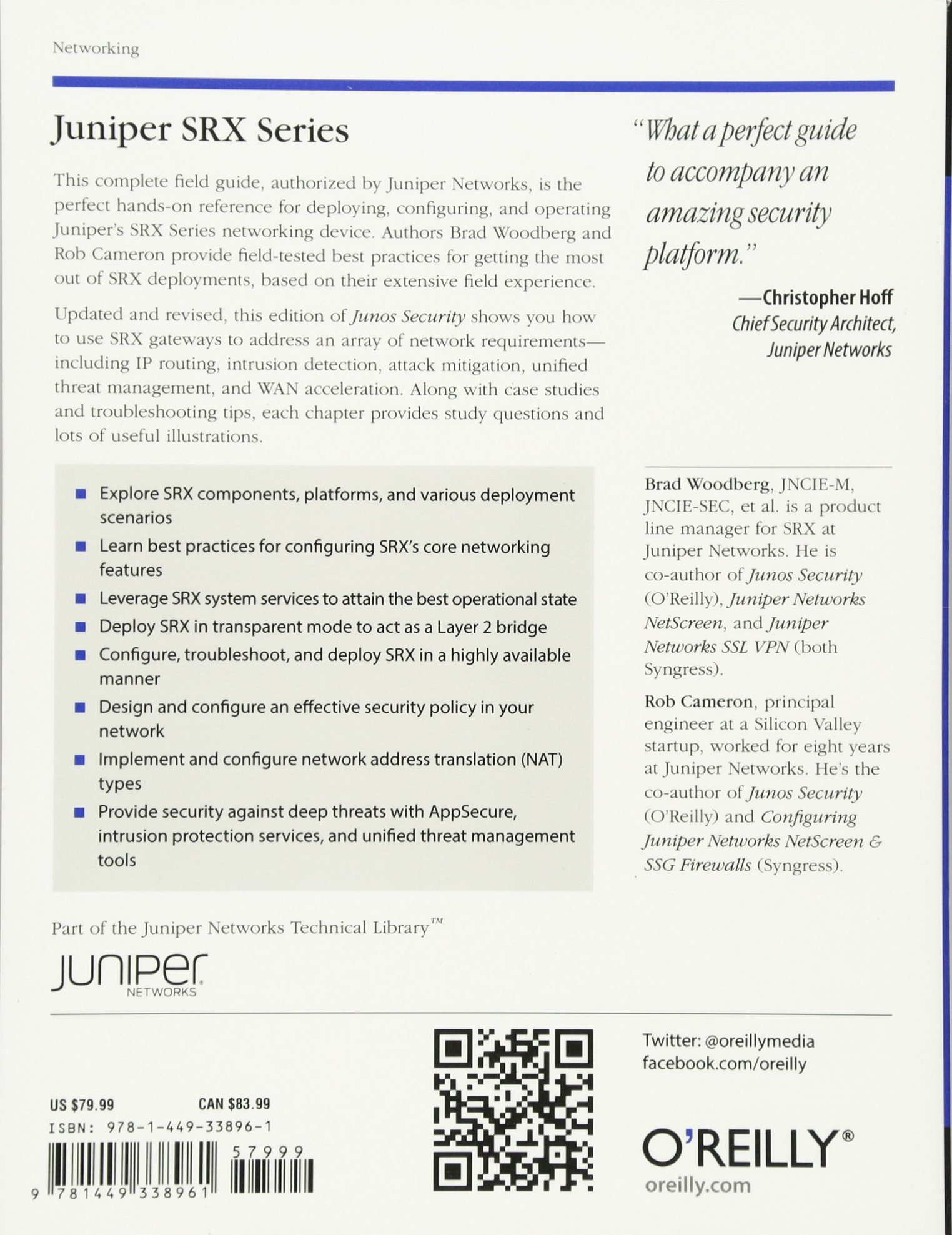 Juniper SRX Series: Amazon co uk: Brad Woodberg, Rob Cameron