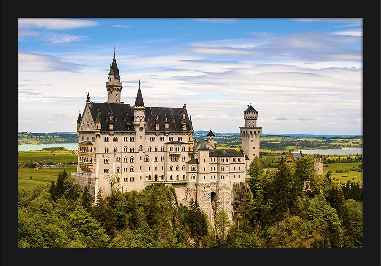 Germany 36x24 Giclee Art Print, Gallery Framed, Espresso Wood Neuschwanstein Castle