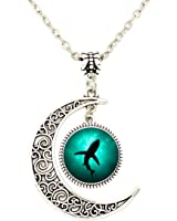Liumart Crescent Moon Pendant Necklace Ocean Shark Shadow in the Sea Pendant Best Friend Jewelry Gifts