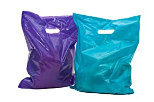 "Merchandise Bags: ACME Bag Bros 100 Large Purple and Teal Merchandise Bags, Plastic Bags with Handles 12x15""; Plastic Retail Bags; for Party, Gifts, Small Retail Shops & Trade Shows"