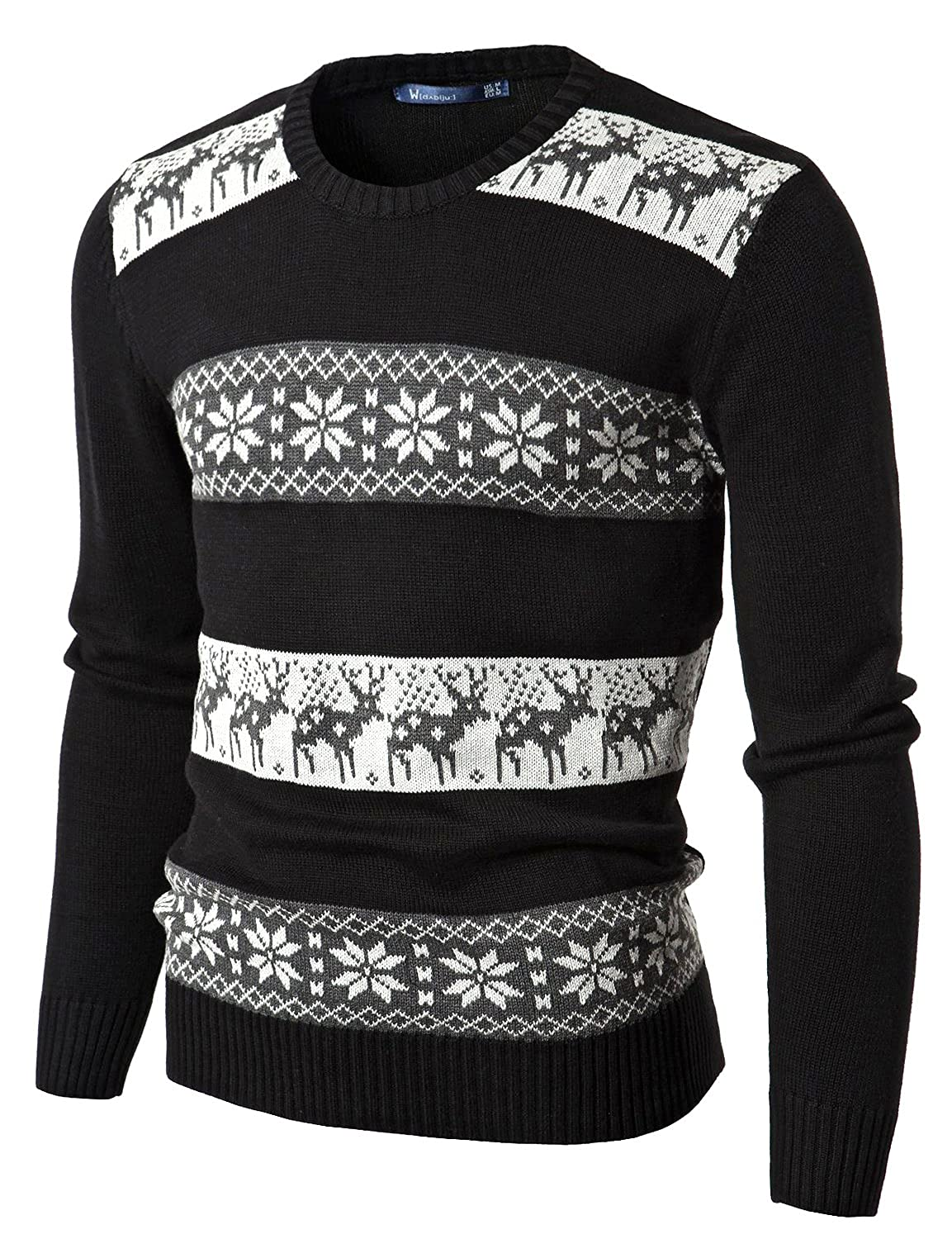 Doublju Mens Crew Neck Sweater with Snowflake Pattern BLACK (US-XL) at Amazon Mens Clothing store: Cardigan Sweaters