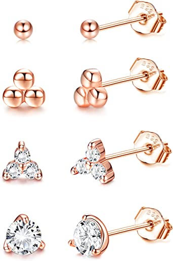 Tiny gold studs Set of 4 studs Small gold earrings Gold stud earrings Gold bar studs 2 pairs of gold studs Gold circle studs