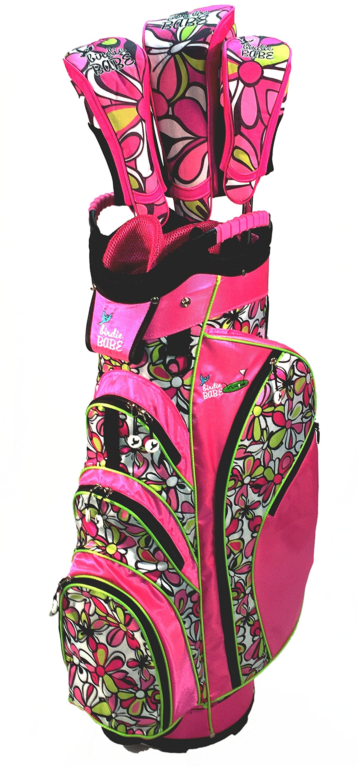 Birdie Babe Pink Flowered Womens Golf Cart Bag with Head Covers