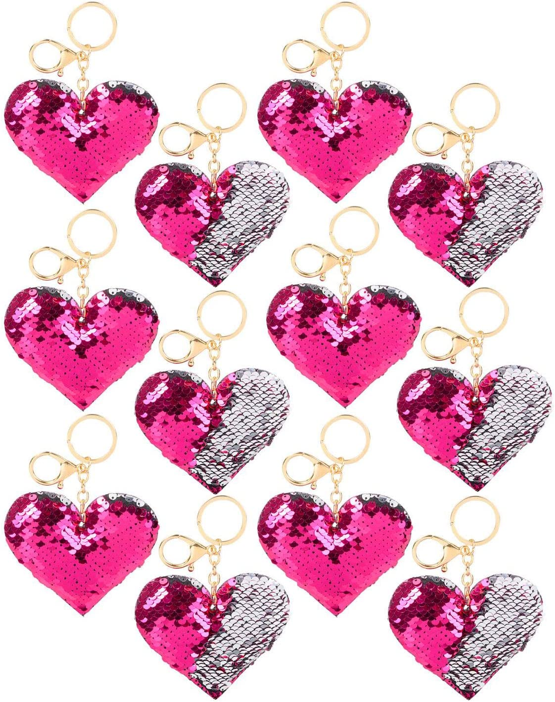 12 Pack and 1 Triangle Eraser Easter Baskets Party Favors Heart Sequin Key Chain Flip Sequins Key Ring Charm Prizes Stocking Stuffers Valentines Day