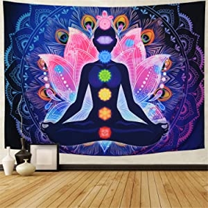 Maccyafst Seven Chakra Tapestry Yoga Meditation Wall Tapestry Colorful Mandala Tapestry Indian Hippie Chakra Tapestry Wall Hanging for Studio Room (H59.1