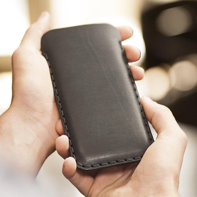 Housse Noir pour iPhone 8 7 6 6s en Cuir Véritable. Étui Coque Case Cover Pochette