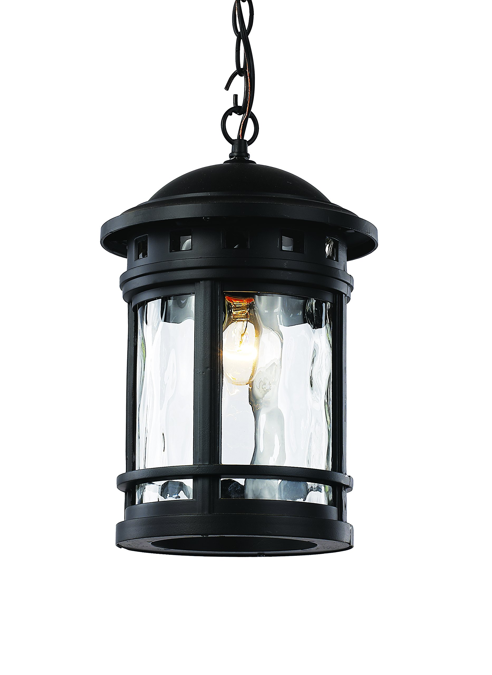Trans Globe Lighting 40375 BK Outdoor Boardwalk 15'' Hanging Lantern, Black