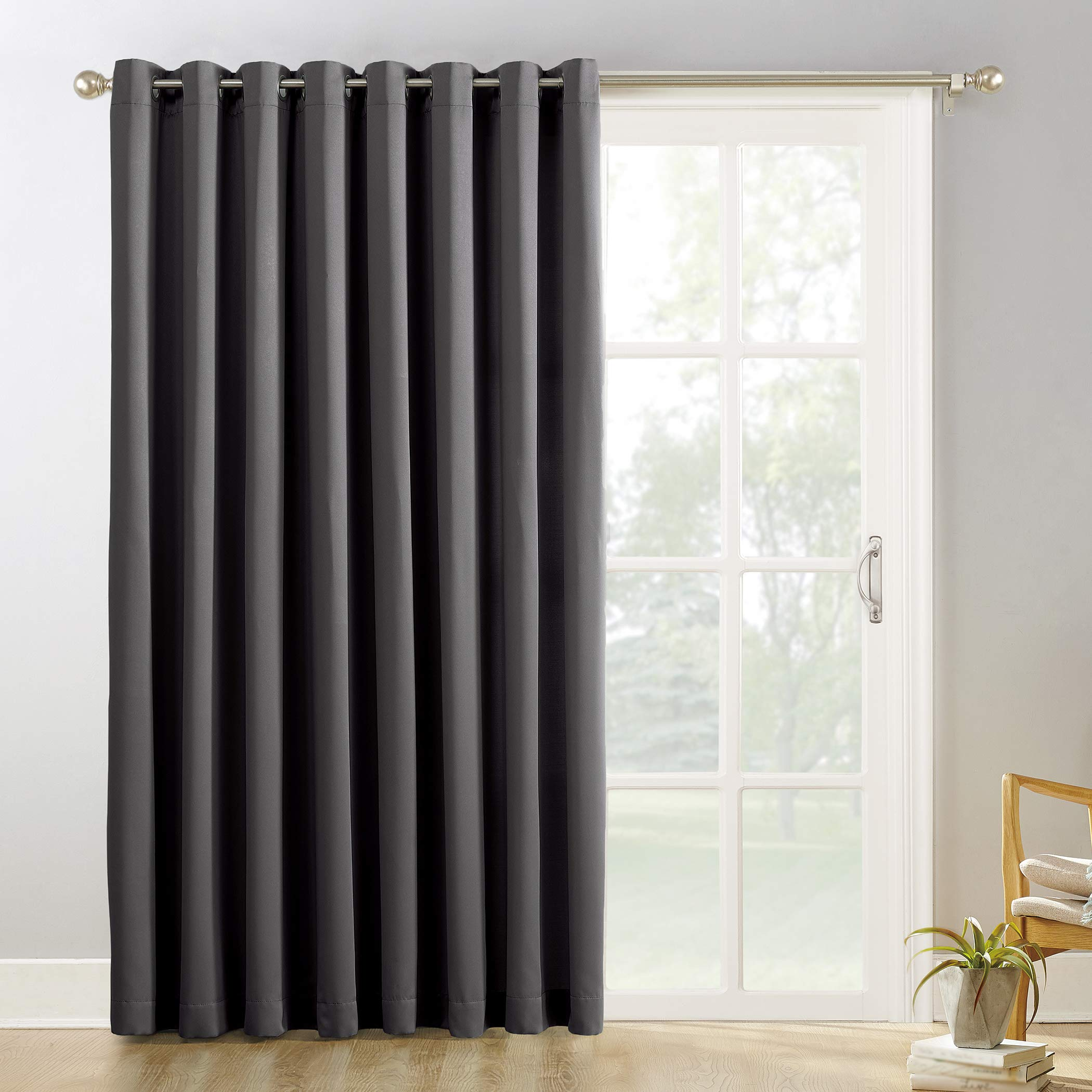 Sun Zero Easton Extra-Wide Blackout Sliding Patio Door Curtain Panel with Pull Wand, 100'' x 84'', Charcoal Gray by Sun Zero