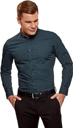 oodji Ultra Hombre Camisa con Estampado Geométrico Pequeño