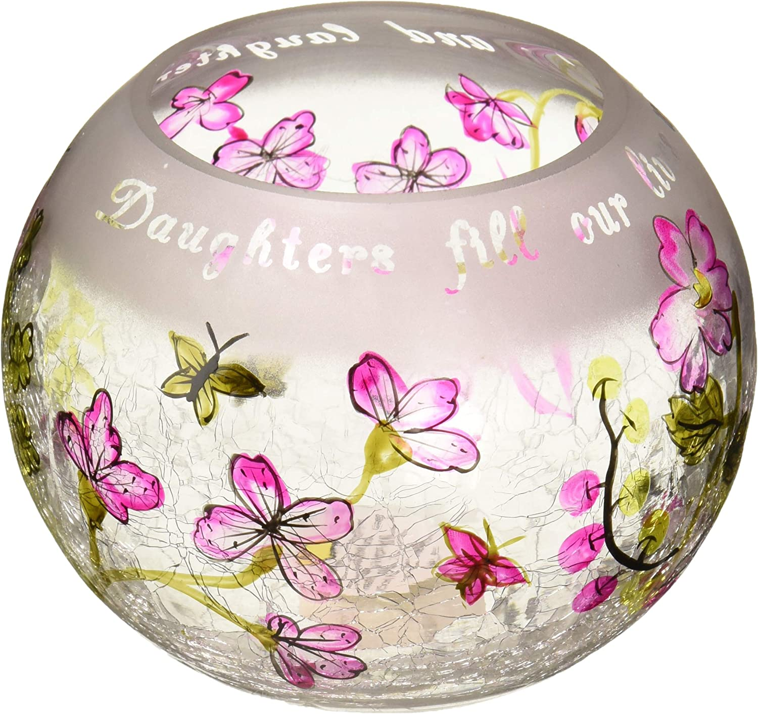 Pavilion Gift Company Mark My Words 5-Inch Round Hurricane Crackled Glass Candle Holder, Daughter Sentiment