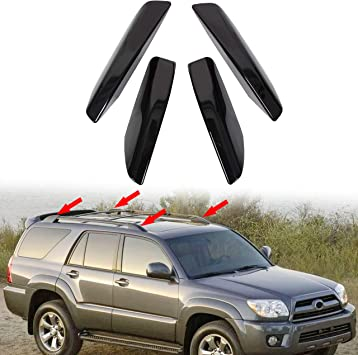 ECOTRIC 4Pcs Black Roof Rack Rail End Bar Cover Cap Shell Protection Replace for 2003-2009 Toyota 4Runner SW4 N210