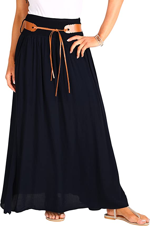 KRISP Falda Larga Bohemia Elegante Plisada Hippie Cintura Elástica ...