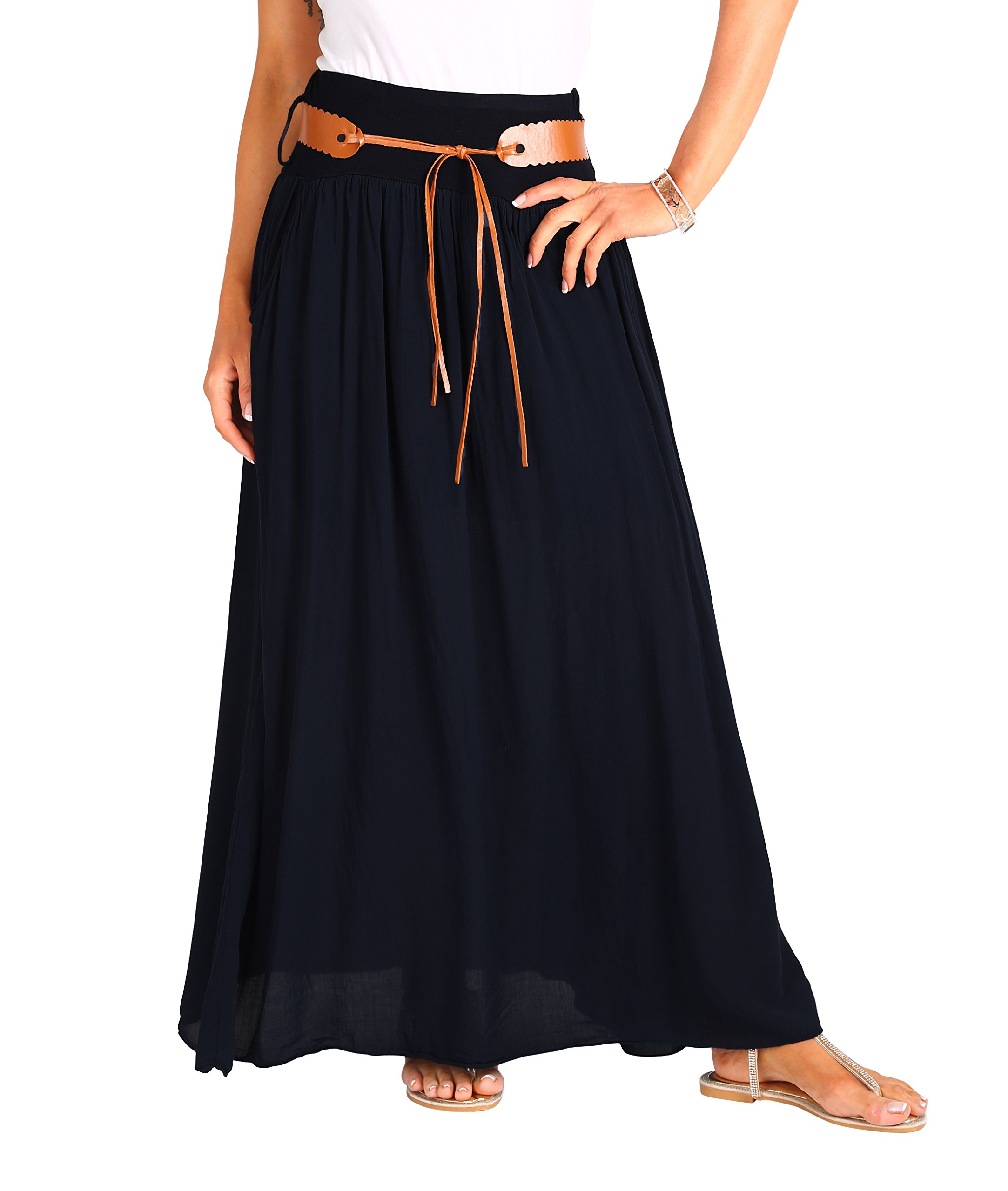 KRISP 4809-BLK-LXL:: Tie Belted Boho Maxi Skirt