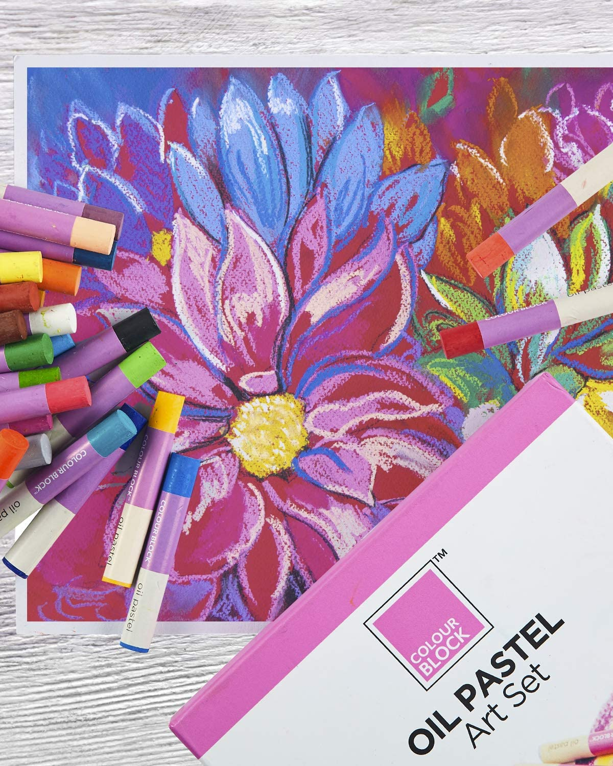 """Assorted oil pastels for kids and professionals great for watercolor effect COLOUR BLOCK 24pc Oil Pastel Art Set Each stick 2-/¾/""""x⅖/"""" and well organized in colored storage box Water-soluble"""