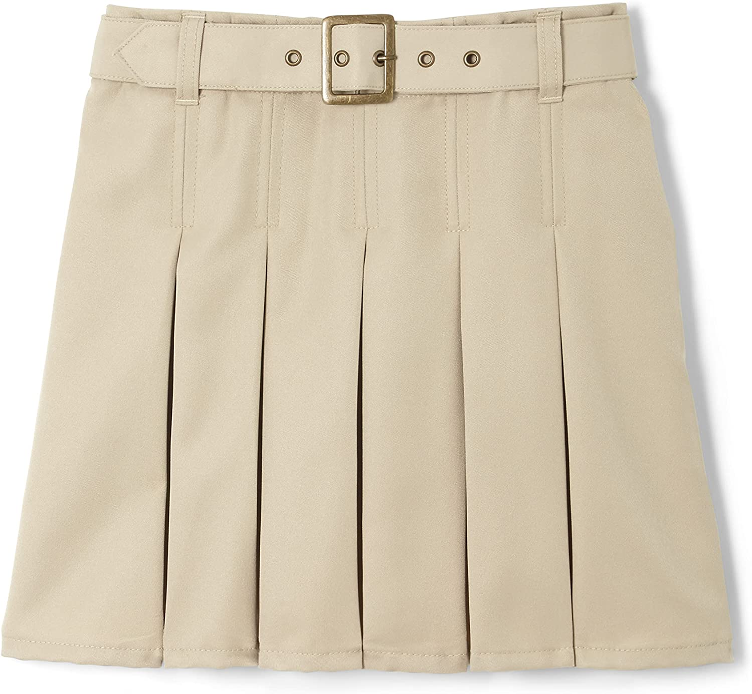French Toast Girls' Pleated Scooter with Square Buckle Belt: Clothing