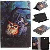 Galaxy Tab E 9.6 Case, Newshine Magnetic Closure Stand Folio Cover with Card Slots/Cash Holder for Samsung Galaxy Tab E 9.6 SM-T560 (4 Forest Owls)