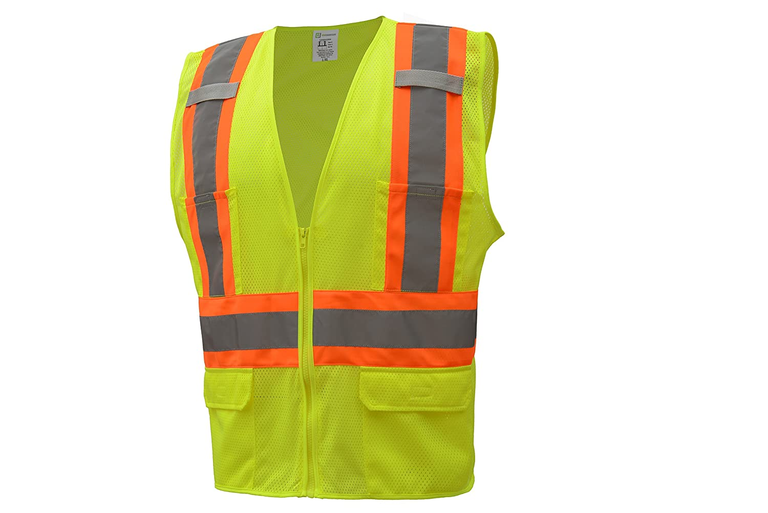 CJ Safety ANSI Class 2 High Visibility Two Tone Safety Vest - Wicking Breathable Mesh - 6 Pockets (Extra Large, Orange) General Safety Products