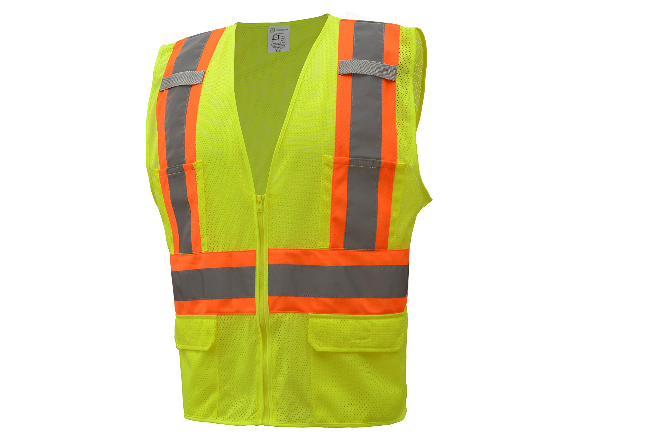 CJ Safety CJHVSV2003 ANSI Class 2 High Visibility Two Tone Safety Vest Wicking Breathable Mesh (5XL, Green)