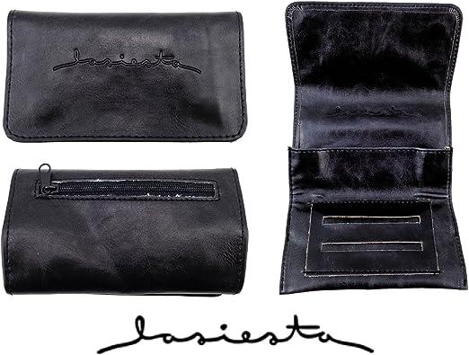 La Siesta - Petaca para tabaco de liar, ranura doble para librillo de papel, color negro: Amazon.es: Hogar