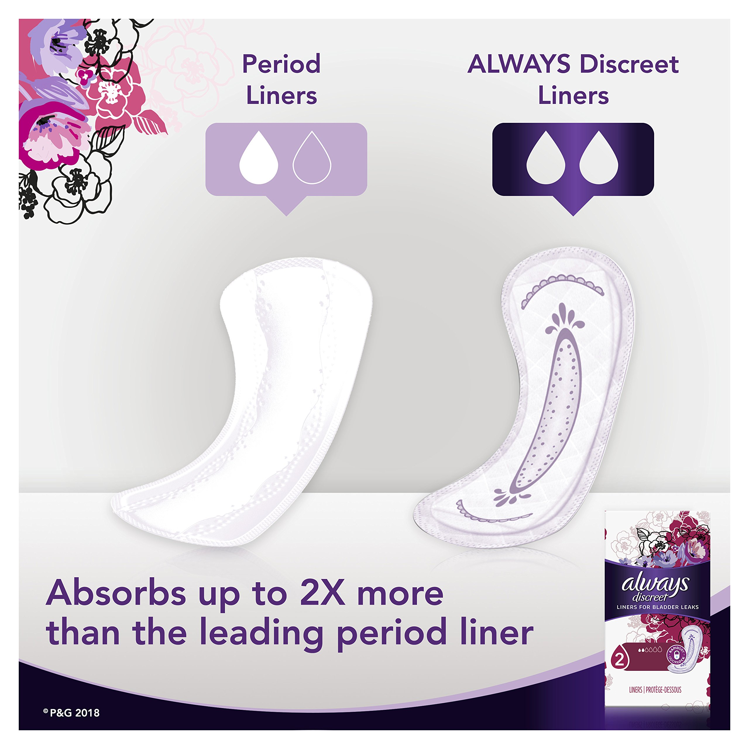 Always Discreet, Incontinence Liners, Very Light, Long Length, 44 Count - Pack of 3 (132 Total Count) by Always Discreet (Image #9)