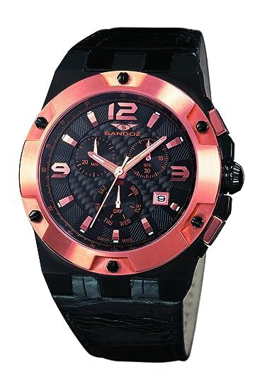 Sandoz 81287-95 - Reloj de caballero de cuarzo, correa de piel color negro: Amazon.es: Relojes