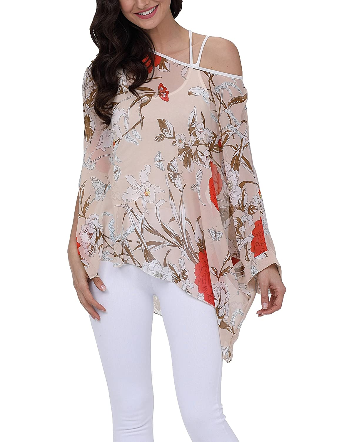 Vanbuy Women Summer Floral Printed Batwing Sleeve Top Chiffon Poncho Casual Loose Blouse Z91-4277