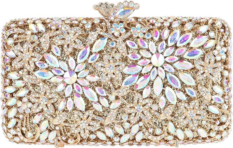 Womens Luxury Flower Rhinestone Clutch Purse Evening Handbag
