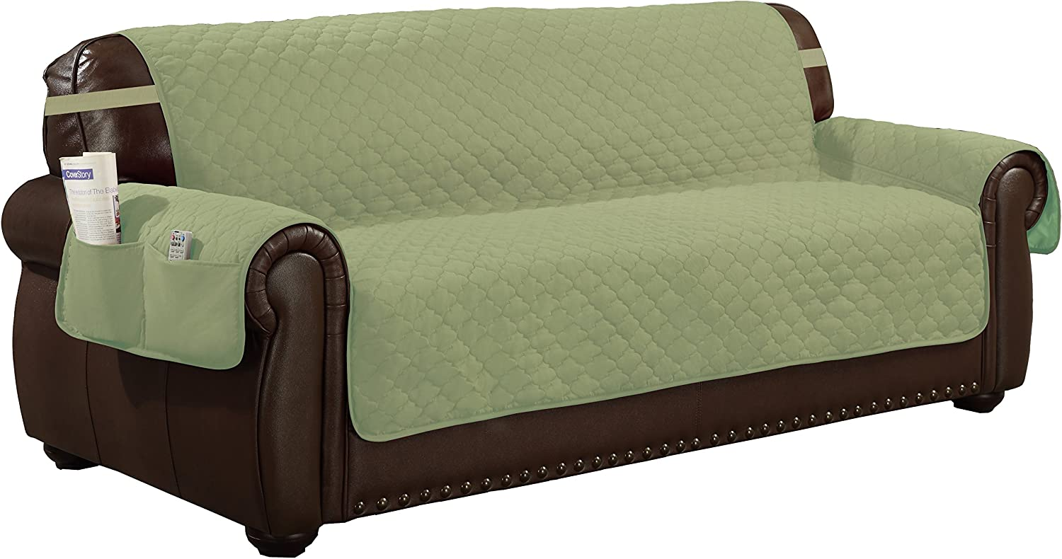 Quick Fit Reversible Waterproof Slipcover for Sofa Couch Cover with Elastic Buckle, Sage-Chocolate